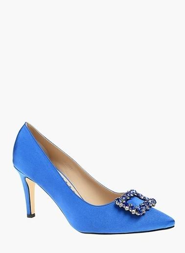 Divarese İnce Topuklu Taşlı Ayakkabı Saks
